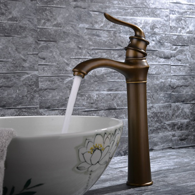 Bathroom Sink Faucet - Classic Antique Brass Free Standing Single Handle One HoleBath Taps