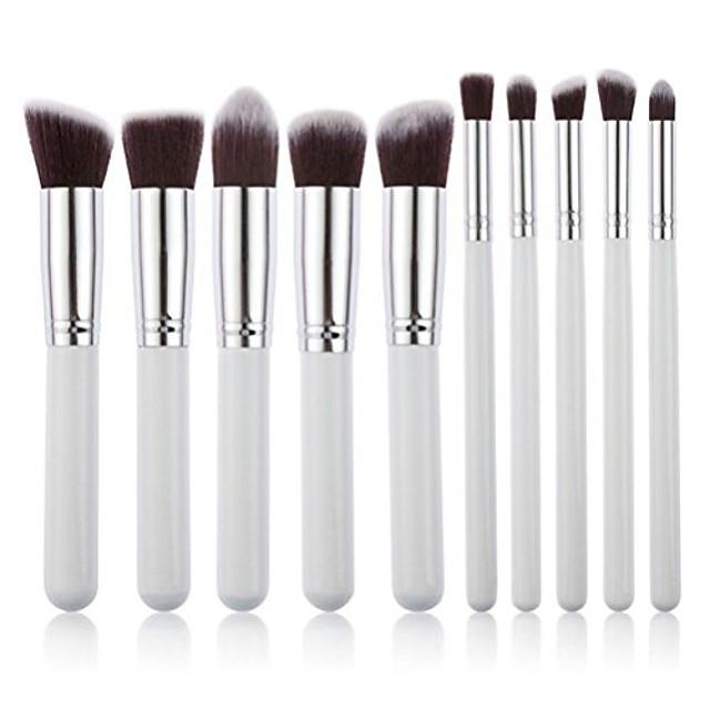 10pcs makeup brush set cosmetics blending blush eyeliner face powder brush (white+silver)