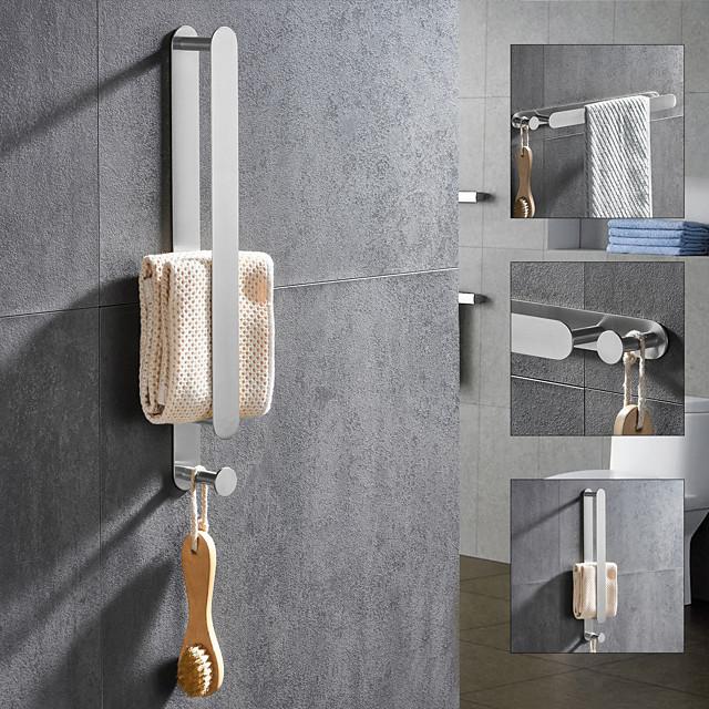 geborsteld multifunctionele handdoekstang met haak 304 roestvrij staal gegalvaniseerd, 40cm, geborsteld, badkamer- en keukenplank zonder pons
