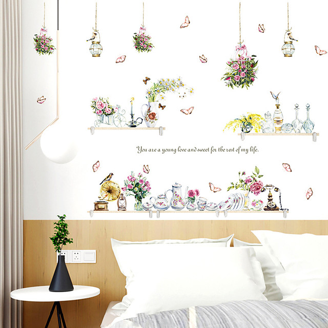 Wall Sticker Hanging Basket Vase Small Fresh DIY Dining Room Kitchen Porch Wall Beautification Decorative Wall Stickers Decorative Wall Stickers