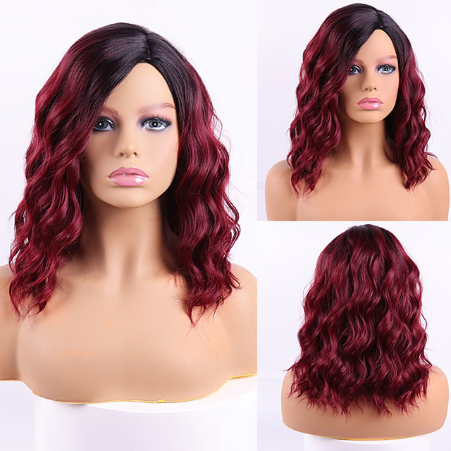 Synthetic Wig Curly Side Part Wig Short Black / Red Synthetic Hair Women's Cosplay Party Fashion Red