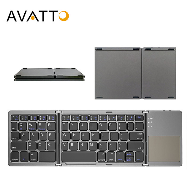 avatto russian/spanish/arabic b033 mini folding keyboard, wireless bluetooth keyboard with touchpad for windows, android, ios