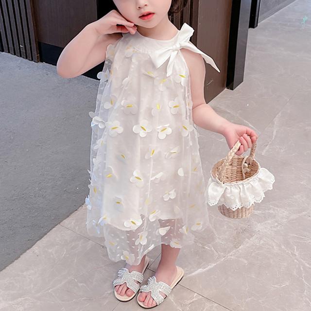 Toddler Little Girls' Dress Flower Birthday Party Festival White Maxi Sleeveless Princess Sweet Dresses Summer