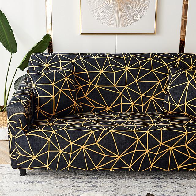 Sofa Cover Oblique Grid Print Furniture Protector Soft Stretch Spandex Jacquard Fabric