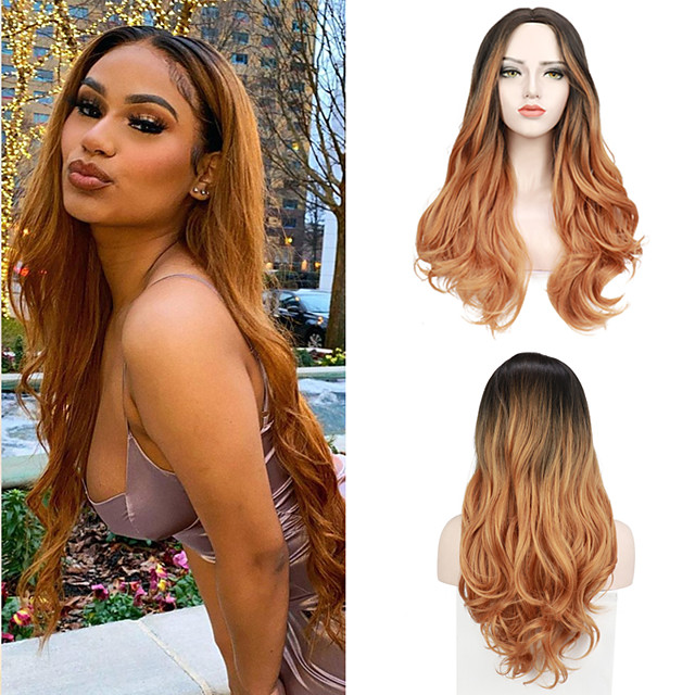 Body Natural Wavy Synthetic Wig Middle Part Ombre Color Hair Wigs Heat Resistant Fiber Free Cap