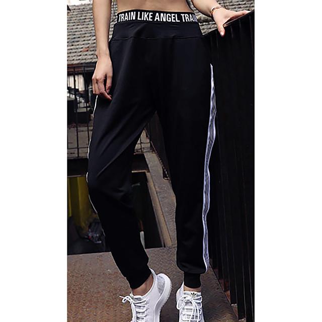 LITB Basic Women's Striped Pockets Jogger High Elastic Straight Running Pants High Waist Trousers Fast Dry Dailywear Bottom