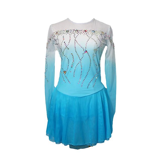 Figure Skating Dress Women's Girls' Ice Skating Dress Blue+White Patchwork Asymmetric Hem Spandex High Elasticity Competition Skating Wear Crystal / Rhinestone Long Sleeve Ice Skating Figure Skating