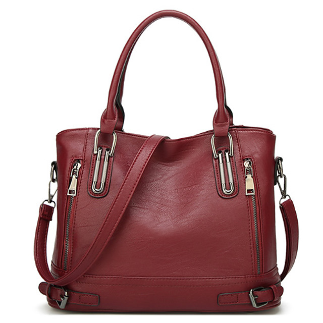Women's Bags PU Leather Satchel Top Handle Bag Zipper Solid Color Daily Going out 2021 Handbags Wine Black Brown Dark Blue