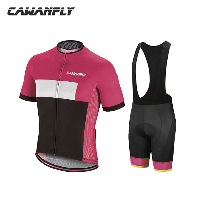 CAWANFLY Boys' Short Sleeve Cycling Padded Shorts Cycling Jersey with Bib Shorts Cycling Jersey with Shorts Spandex Brown+Gray Green / Black Blue / White Bike Shorts Breathable Sports Geometic