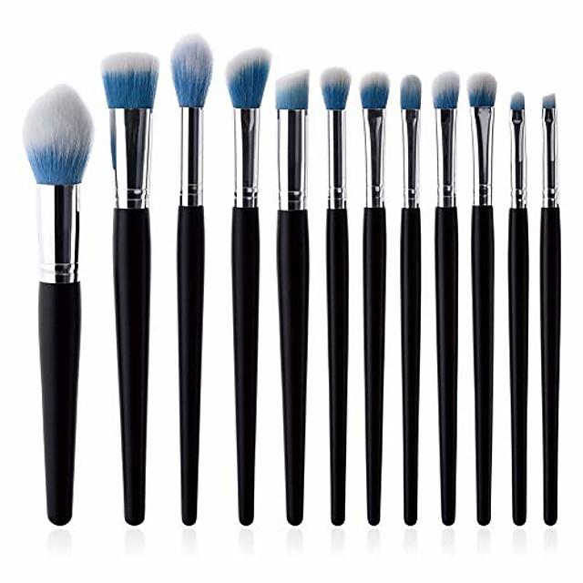 makeup brushes set 12pcs blush brush foundation brush eyeshadow eyebrow concealer lip brush mini flame brush cosmetic beauty tool (black 1)
