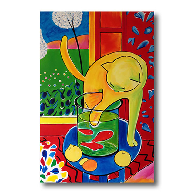 Stretched Oil Painting Hand Painted Canvas Abstract Comtemporary Modern High Quality Cute Cat Cartoon Ready to Hang