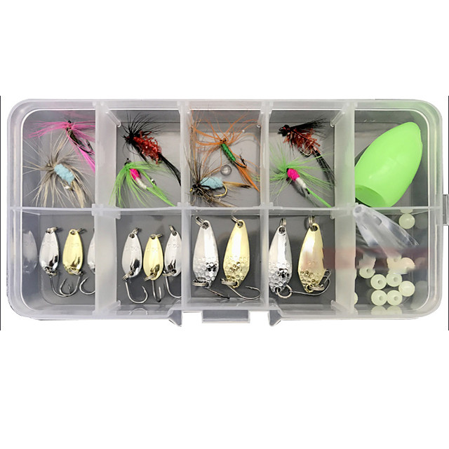 30 pcs Lure kit Fishing Lures Spoons Flies Floating Sinking Bass Trout Pike Lure Fishing Freshwater and Saltwater