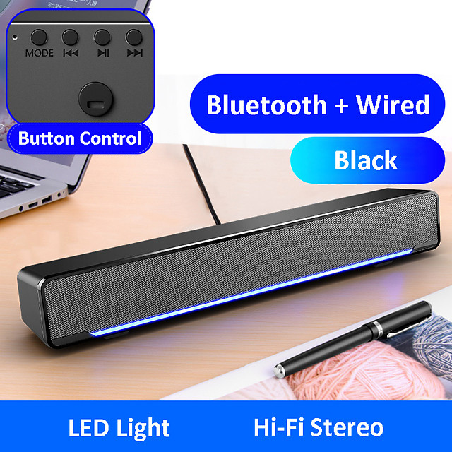 mc196 bluetooth wireless game speaker soundbar usb 3d stereo subwoofer aux fm home clock indoor sound bar computer loudspeaker