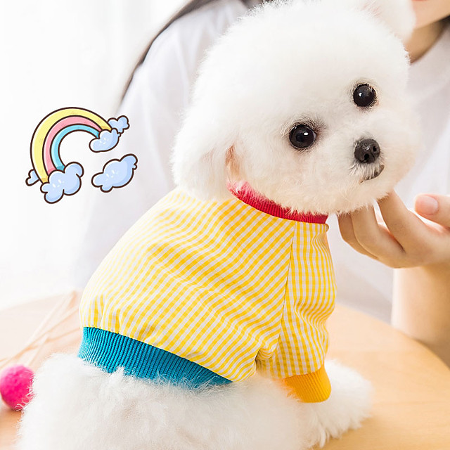 Dog Cat Shirt / T-Shirt Vest Plaid Basic Adorable Cute Casual / Daily Dog Clothes Puppy Clothes Dog Outfits Breathable Yellow Costume for Girl and Boy Dog Cotton Fabric XS S M L XL XXL