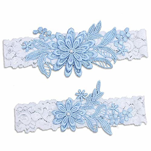 Women's Wedding Garters for Bride Bridal Lace Garter Set with Pearl.
