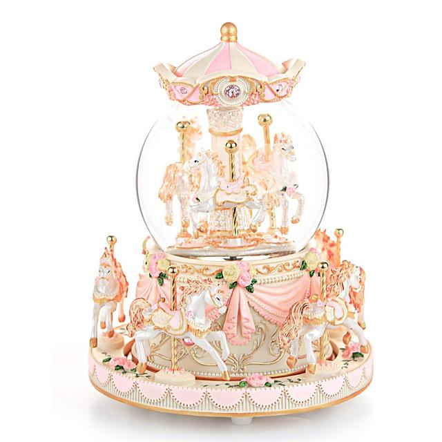 dárek pro kolotoč sněhové koule, hudební skříňka s lehkým větrem pro 8 koní hudební Vánoce valentine narozeniny výročí dárek pro dceru manželku dívku děti strojek melodie kánon