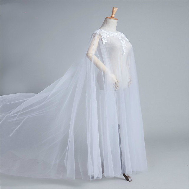 Sleeveless Sexy / Bridal Tulle Wedding / Party / Evening Women's Wrap With Appliques