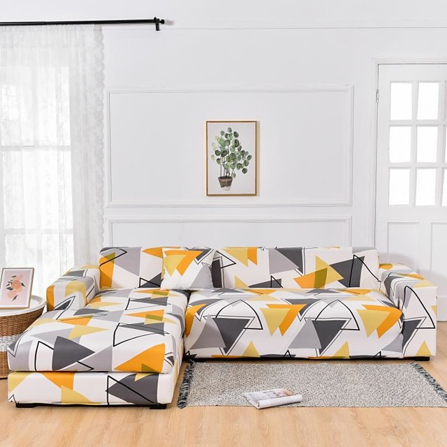 Yellow Triangle Print Dustproof All-powerful  Stretch L Shape Sofa Cover Super Soft Fabric  Sofa Furniture Protector with One Free Boster Case