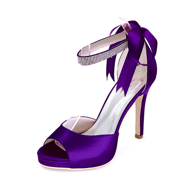 Women's Wedding Shoes Stiletto Heel Open Toe Satin Sparkling Glitter Ribbon Tie Solid Colored White Black Purple