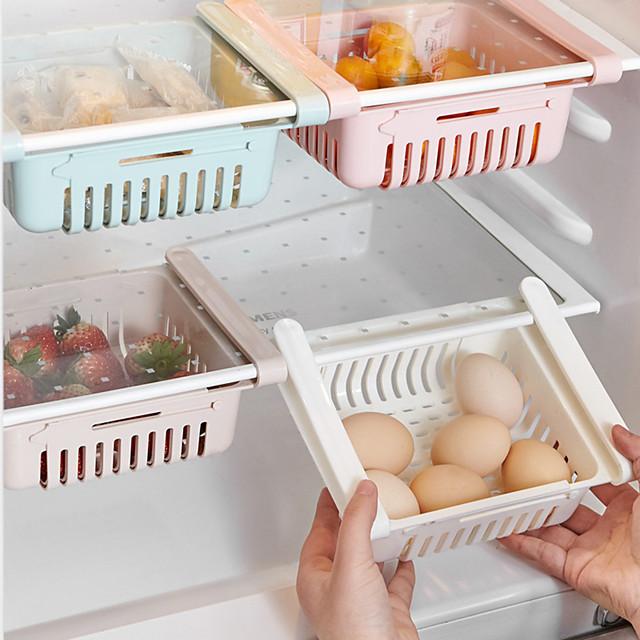 uttrekkbar oppbevaringsboksett kjøkken arrangør avløpskurv kjøleskap skuff kjøleskap holder oppbevaringsstativ grønnsakskasse fruktbrett
