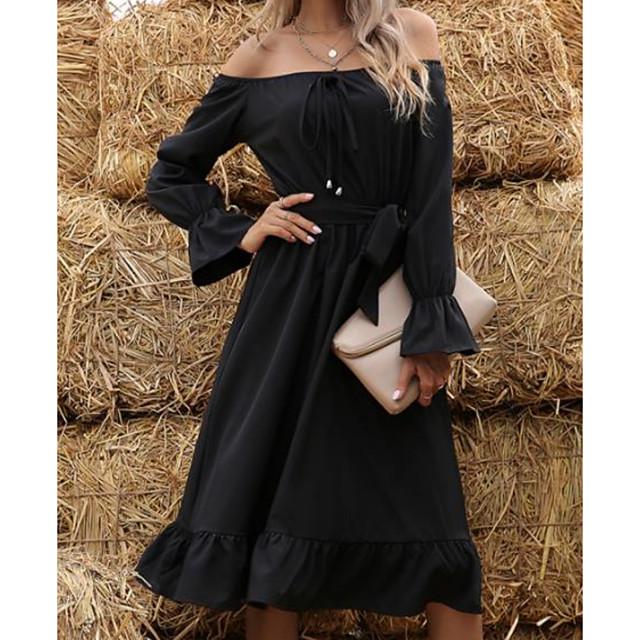 Litb básico vestido midi con hombros descubiertos para mujer una línea de manga larga puño ajustado bodycon parte inferior fruncida ropa de fiesta de color sólido