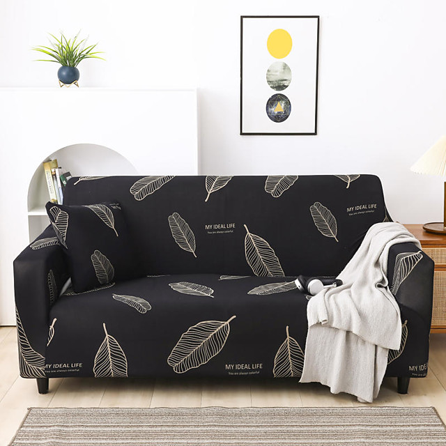 yeni şık sadelik baskı kanepe örtüsü streç kanepe süper yumuşak kumaş retro sıcak satış siyah beyaz tüy