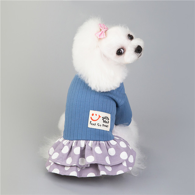 Dog Cat Dress Dot Basic Adorable Cute Dailywear Casual / Daily Dog Clothes Puppy Clothes Dog Outfits Breathable Blue Pink Costume for Girl and Boy Dog Padded Fabric S M L XL XXL