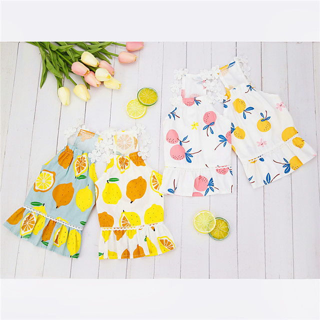 Dog Cat Dress Fruit Leisure Cute Dailywear Casual / Daily Dog Clothes Puppy Clothes Dog Outfits Breathable Yellow Pink Costume for Girl and Boy Dog Padded Fabric S M L XL