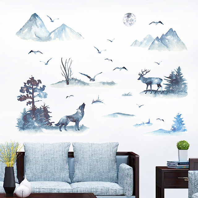 Wall Sticker Ink Mountain Wolf Deer Bird Study Bedroom Office Background Decoration Wall Pastering Can Remove Silhouette Pastering