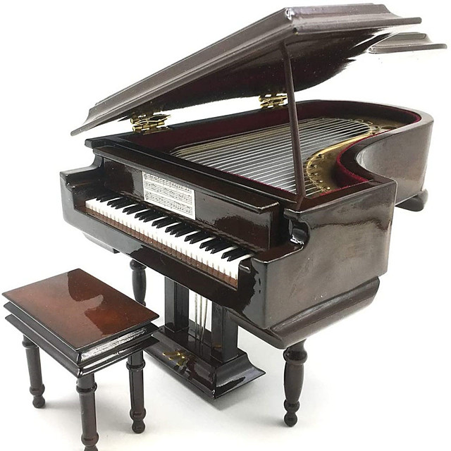 Piano Music Box with Bench and Black Case Musical Boxes Gift for Christmas/Birthday/Valentine's Day, Melody Castle in The Sky
