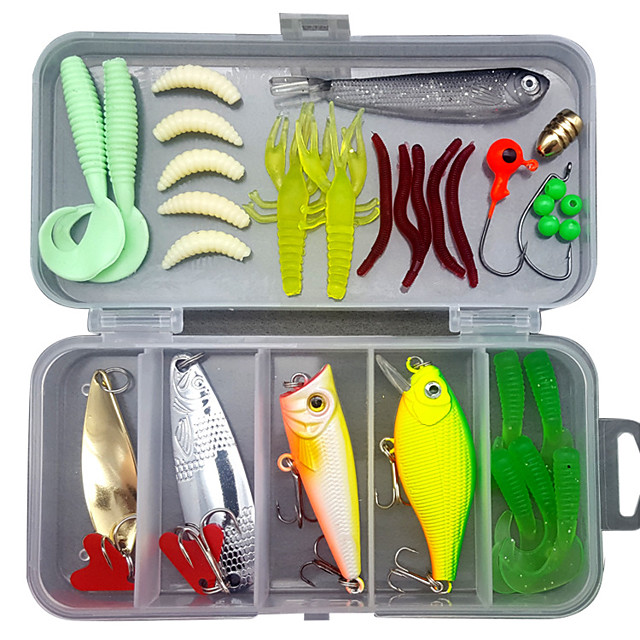 33 pcs Lure kit Fishing Lures Hard Bait Soft Bait Spoons Minnow Pencil Popper Vibration / VIB lifelike 3D Eyes Bass Trout Pike Freshwater and Saltwater Sea Fishing Lure Fishing / ABS / Jig Head