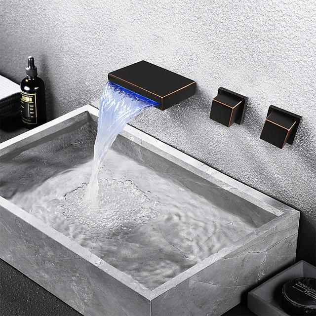 ก๊อกน้ำอ่างล้างจานห้องน้ำ - น้ำตก / กระจาย ทองแดงขัดน้ำมัน ติดด้านใน จับสองสามหลุมBath Taps