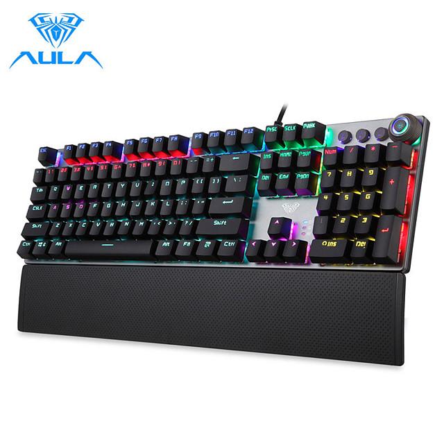 لوحة مفاتيح الألعاب الميكانيكية aula f2088 104 anti-ghosting brown switch أزرق سلكي مزيج الخلفية للكمبيوتر المحمول gamer