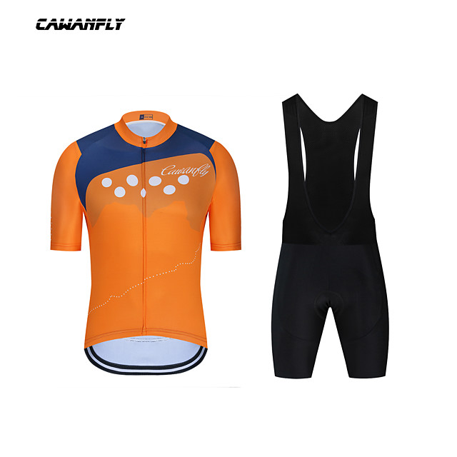 CAWANFLY Boys' Short Sleeve Cycling Padded Shorts Cycling Jersey with Bib Shorts Cycling Jersey with Shorts Spandex Blue+Orange Bike Shorts Breathable Sports Geometic Mountain Bike MTB Road Bike