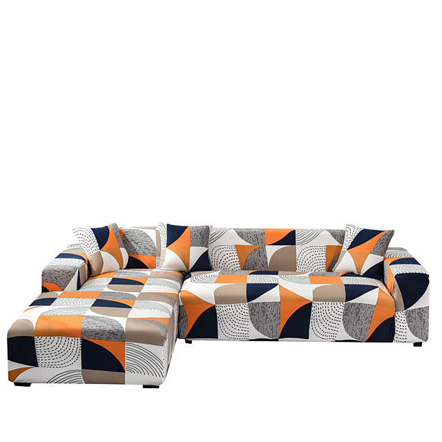 Sofa Cover The Geometric Print Dustproof Stretch Slipcovers Stretch Super Soft Fabric Couch Cover Fit for 1to  4 Cushion Couch and L Shape Sofa (You will Get 1 Throw Pillow Case as free Gift)