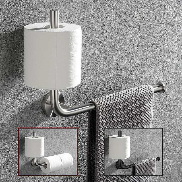 Multifunctional Toilet Paper Holder Vertical Installation Towel Bar Detachable 304 Stainless Steel Brushed Nickel and Matte Black 1pc