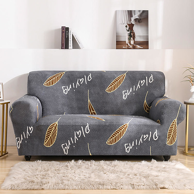 Grey Leaves Print Dustproof All-powerful Slipcovers Stretch Sofa Cover Super Soft Fabric Couch Cover With One Free Boster Case(Chair/Love Seat/3 Seats/4 Seats)