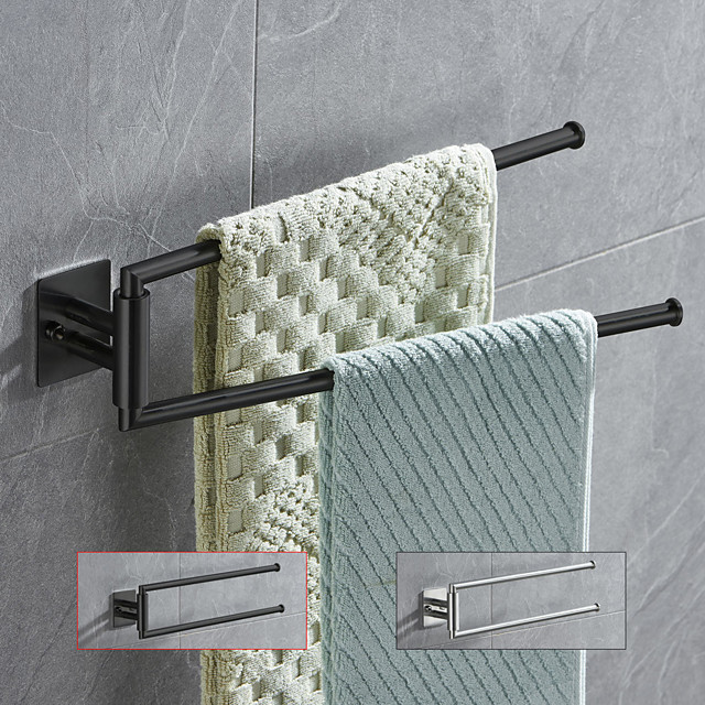 180 Degree Revolving Folding Towel Bar Stainless Steel Bathroom 2-rod Towel Rack Brushed Silvery and Matte Black 1pc