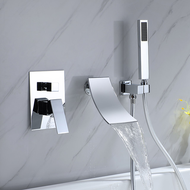 Bathtub Faucet - Contemporary Electroplated Wall Installation Ceramic Valve Bath Shower Mixer Taps