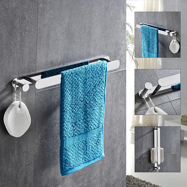 πολυλειτουργική πετσέτα με γάντζο από ανοξείδωτο ατσάλι, επιχρυσωμένο και γυαλισμένο τελειωμένο ράφι μπάνιου αυτοκόλλητο αργυροειδές 1pc
