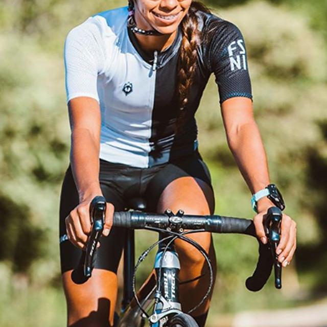 Mulheres Manga Curta Macacão para Triathlon Verão Poliéster Preto / Branco Retalhos Moto Secagem Rápida Respirável Redutor de Suor Esportes Retalhos Ciclismo de Montanha Ciclismo de Estrada Roupa