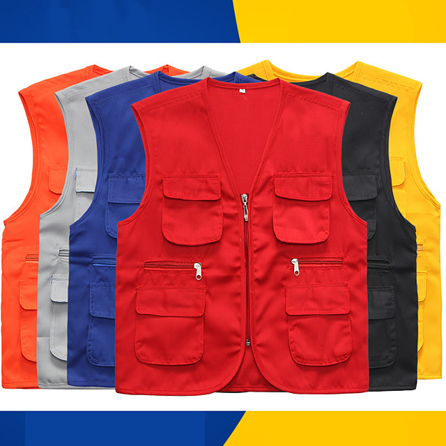 Women's Men's Hiking Vest / Gilet Fishing Vest Sleeveless Vest / Gilet Jacket Top Outdoor Quick Dry Lightweight Breathable Sweat wicking Autumn / Fall Spring Summer Black Red Yellow Hunting Fishing