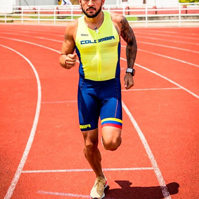 Γυναικεία Αμάνικο Ολόσωμη στολή για τρίαθλο Καλοκαίρι Πολυεστέρας Μπλε +Κίτρινο Κουρελού Ποδήλατο Γρήγορο Στέγνωμα Αναπνέει Σκούπισμα ιδρώτα Αθλητισμός Κουρελού Ποδηλασία Βουνού Ποδηλασία Δρόμου Ρούχα