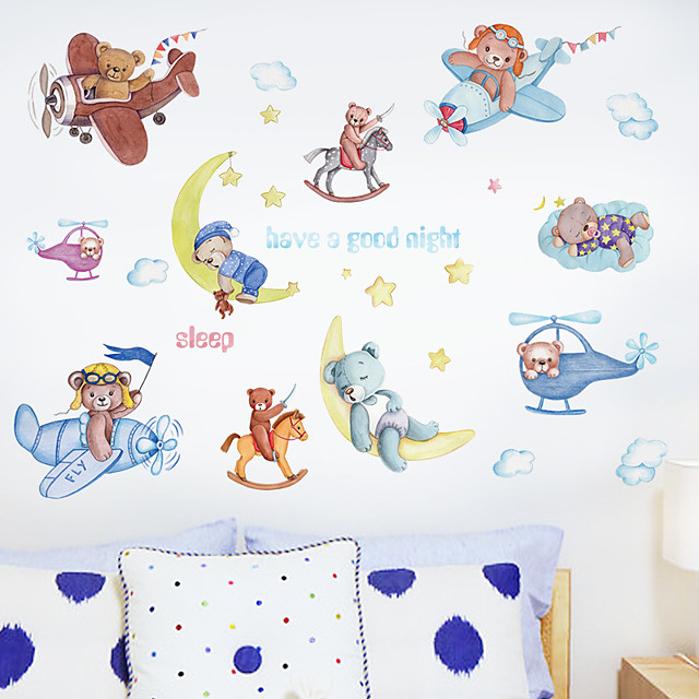 Cartoon Moon Bear Airplane Children's Room Bedroom Porch Kindergarten Wall Background Decoration Can Be Removed Wall Stickers