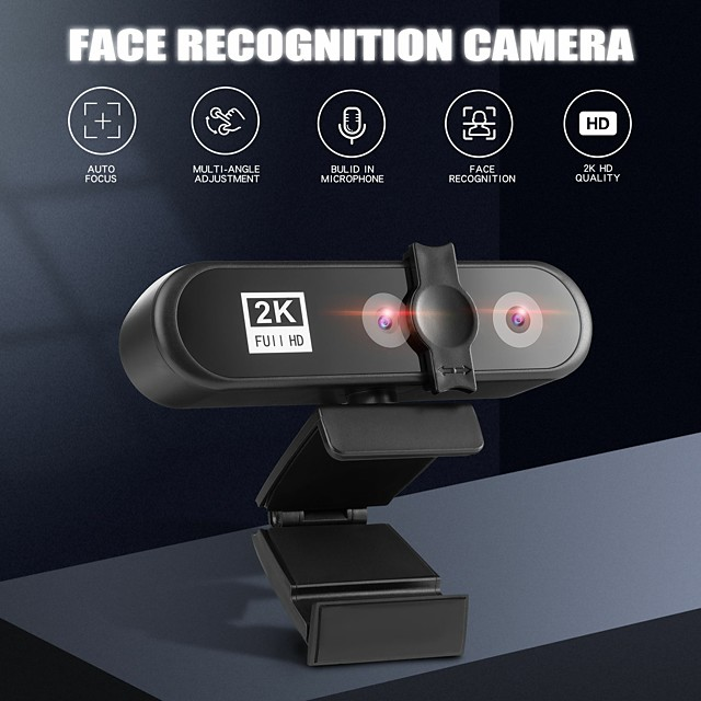Video Conference Webcam 2K PC Web Camera with Face Recognition Dual Lens Autofocus HD Camera for Computer Live Broadcast