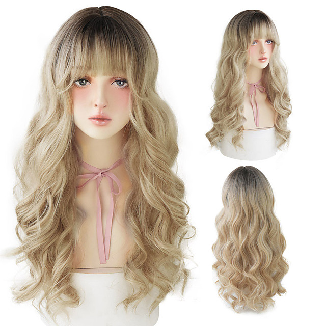 Lolita Wigs With Bangs Omber Blonde Long Deep Wave Wigs For Women Noble Blonde Heat Resistant Synthetic Cosplay Wig