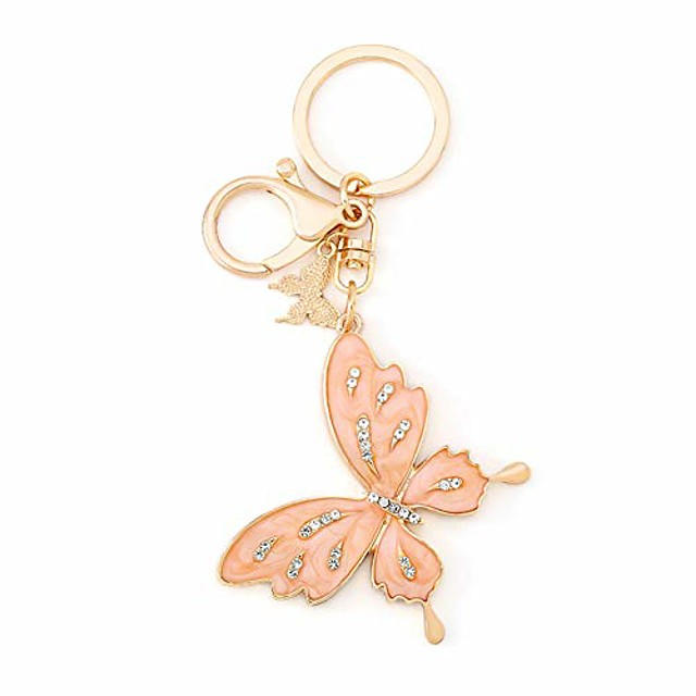 crystal butterfly key chain for women bag charm, glitter rhinestone car key ring accessories for purse, handbag decoration (d pink)