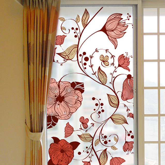 Plants Flowers Pattern Matte Window Film Cling Vinyl Thermal-Insulation Privacy Protection Home Decor For Window Cabinet Door Sticker Window Sticker - 116*60CM
