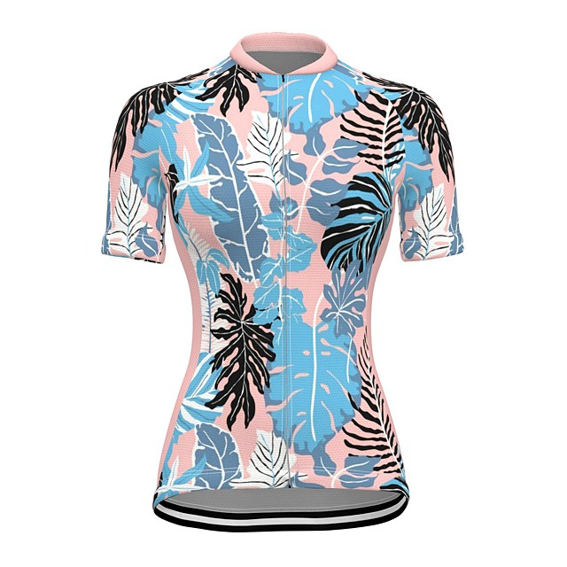 21Grams Women's Short Sleeve Cycling Jersey Summer Spandex Polyester Blue Tropical Flowers Bike Jersey Top Mountain Bike MTB Road Bike Cycling Quick Dry Moisture Wicking Breathable Sports Clothing