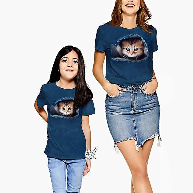Mommy and Me Tee Graphic Print Navy Blue Short Sleeve Active Matching Outfits